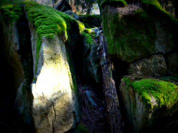 Moosbewachsene Felsen der Teufelsmühle