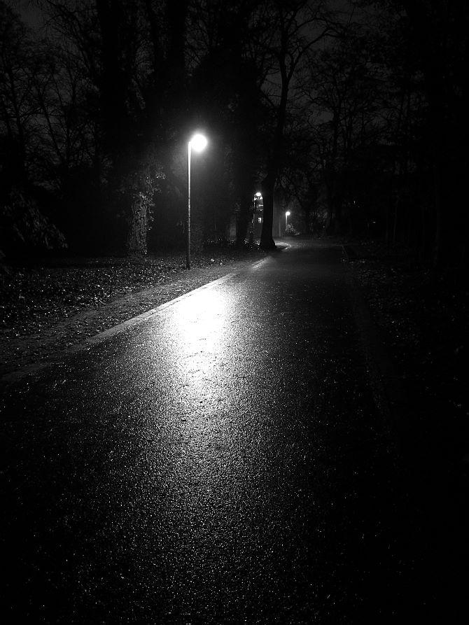 In den späten Abendstunden im Stadtpark Halle (Saale)