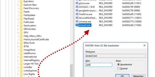 Registry-Eintrag für Picasa3.exe vornehmen