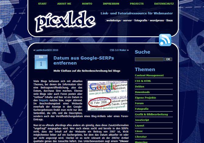 Die alte picxl.de Webseite