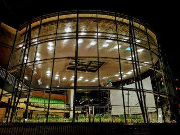 Sächsischer Landtag in Dresden (Plenarsaal) bei Nacht
