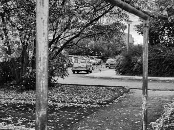 Silberhöhe: Wäschestange und Trabant in der Hanoier Straße