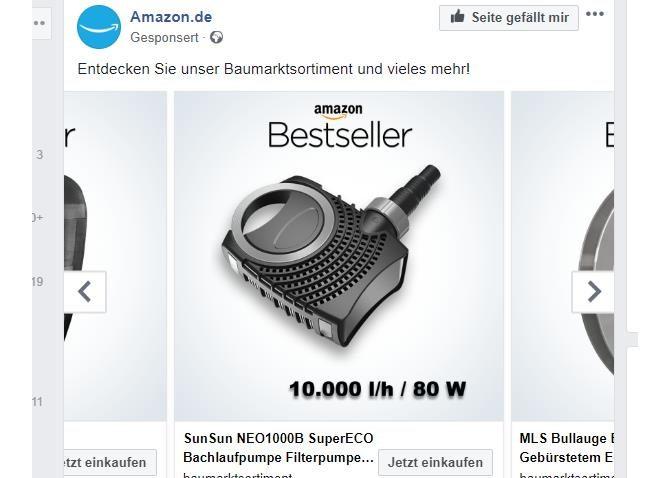 Amazon-Anzeigen auf Facebook in schwarz-weiß