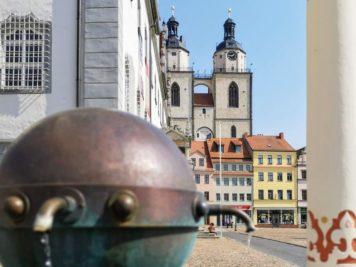 Wittenberg - Marktbrunnen, Rathaus und Stadtkirche