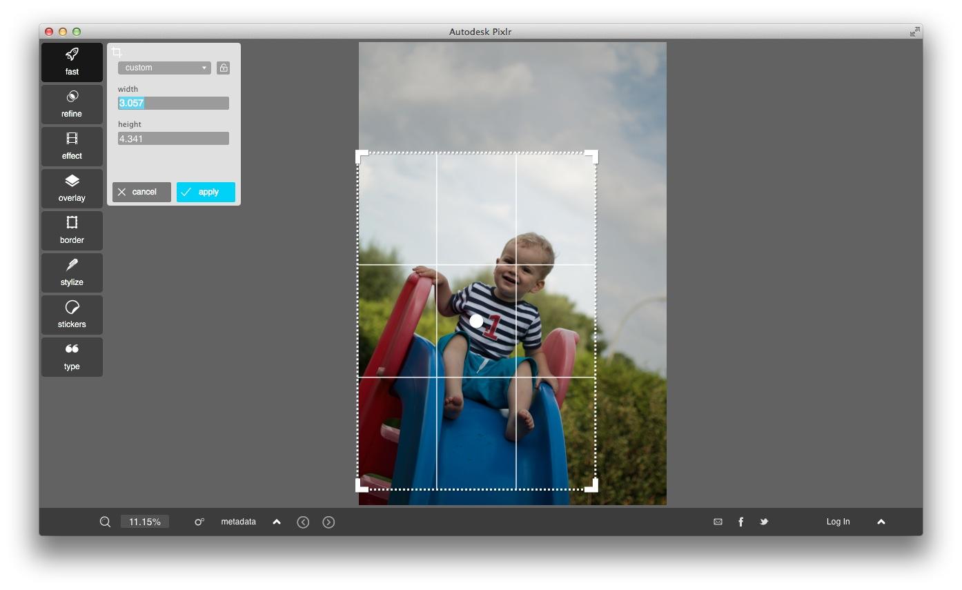 pixlr cropping